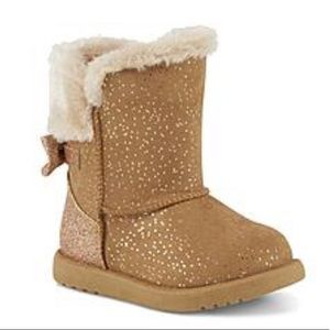 Disney Princess Tan Suede Fabric Crown Bow Boots